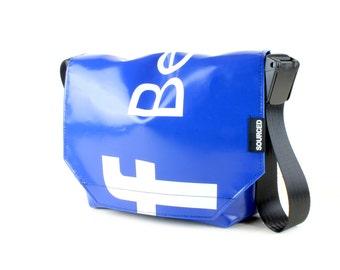 Messenger Bag made from Upcycled Truck Tarp, Water resistant Laptop Bag, Courier Bag, Satchel, Shoulder Bag (R01)