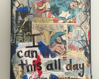 Captain America Avengers Music art painting superhero gift boy nerd super hero Marvel musician comic book gift mixed media PRINT