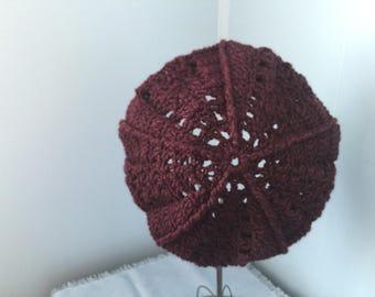 Plum Heather 5 Point Star Tam, Crocheted Beret Hat, Purple Textured Slouchy