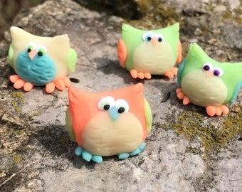 Four Handmade Polymer Clay owls