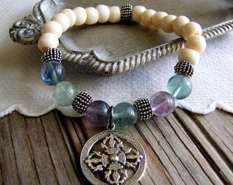 Woman's Mala Bracelet Buddhist Amulet Bracelet Protection Jewelry Boho Charm Bracelet Yoga Chakra Bracelet Boho Jewelry Resort Jewelry