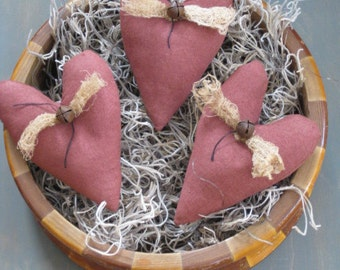 Primitive Heart Bowl Fillers - Set of  3 - Primitive Valentine's Day - Maroon Hearts - Grungy Fabrics - Wedding - Anniversary - Sweetest Day