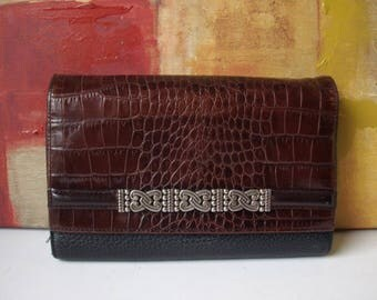 BRIGHTON Checkbook Wallet Brown Croc and Black Small Pebble Leather