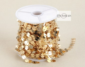 Promotion season-20 feet unique gold disc coin chain gold plated over raw solid brass dotted chain-F123