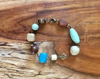 Harper Bracelet in Turquoise, Mint, Ivory and Chestnut