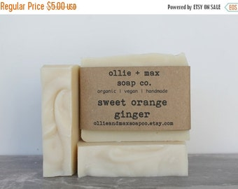 ON SALE Sweet Orange and Ginger Organic Soap, Vegan Soap, Cold Process Soap, Hand Made Soap, Essential Oil Soap