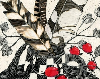 Fine Art Print - Feathers and Rosehips in Checked Pot of Scraperboard original