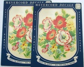 Meyercord 1950s Poppies Decal 939A - Two flower decals in original package
