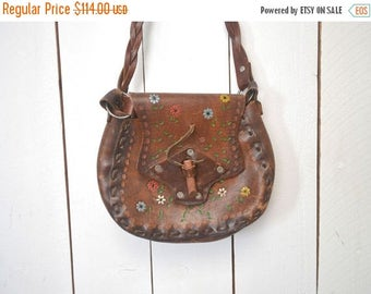Flash Sale 25% Off Tooled Leather Purse 1960s Hand Painted Authentic Vintage Thick Leather Cross Body Handbag