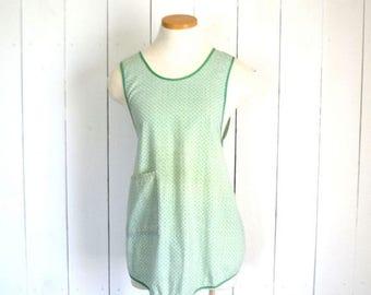 15% OFF Mid Century Mod Apron - 1960s Blue Green Full Apron - Vintage Button Tie Geometric Print Smock Apron