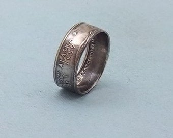 Silver coin ring Alaska State quarter year 2008 size 7, 90% fine silver jewelry unique  gift FREE SHIPPING