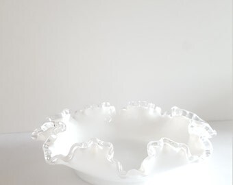 Ruffled Milk Glass Bowl with a Silver Crest Scalloped Rim, Vintage, Candy Dish, Vintage, Collectible, Rare, Wedding Gift Ideas
