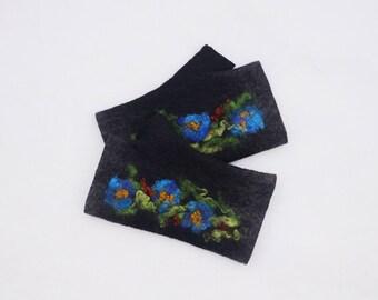Felted Fingerless Gloves Fingerless Mittens Arm warmers Wristlets Merino Wool Black Blue Flowers