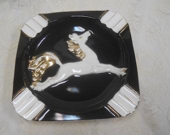 Vintage Black Ashtray with White & Gold Horse 8 1/2 x 8 1/2