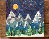 READY TO SHIP: 8x8 Winter Holiday Snow Pine Tree Colorado Prairie Mountain Night Sky Falling Star Winter Snow Scene