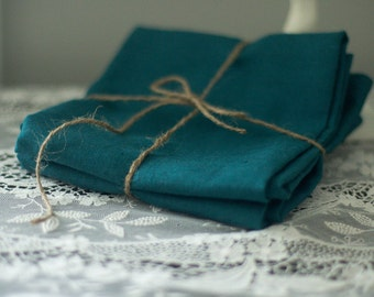 Linen Tea Towels - Linen Hand Towels - Guest Towels - Dish Towels - Peacock Blue Linen - Eco Friendly Linen Towel - Set of Two