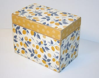 READY TO SHIP Lemon Recipe Box, Yellow and Blue Recipe Box, 4x6 Wood Box, Fruit Recipe Box, Yellow Kitchen, Blue Kitchen, Keepsake Box