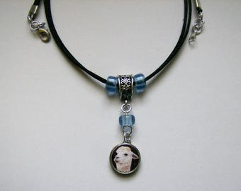 "White Llama 2-Sided Pendant / Charm 20"" Satin Cord Necklace Glass beads"