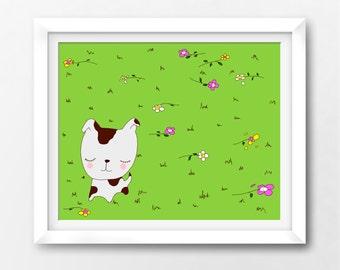 Puppy Printable Art Print, Kawaii Baby Nursery Instant Download Illustration by Sleepy Cloud Studios