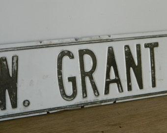 Grant Vintage Metal Street Sign. Industrial. Home Decor. Farmhouse.
