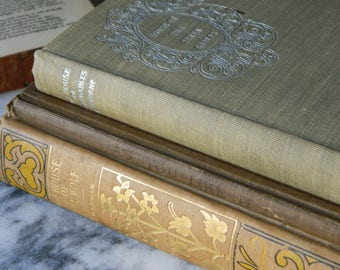 Antique Book Collection. Classic Literature and Poetry. Victorian. Instant Library. Cottage decor. Wedding. Beige and Gray.