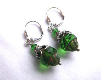 Green Crystal Bead Earrings