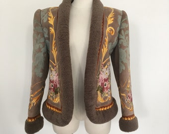 vintage Valentino embroidery shearling jacke