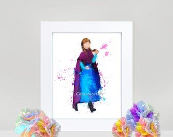 Disney inspired Anna - Frozen- digital art INSTANT DOWNLOAD for kids girls room princess kids nursery decor