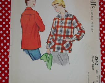 Vintage Pattern c.1955 McCall's No.3242 Misses Jacket Size Medium, 14-16