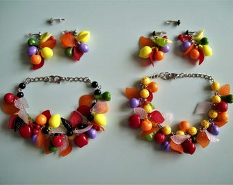 Plastic Fruit Earrings or Bracelet - Choose color.