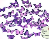 "48 small purple edible butterflies, also assorted colors. 1/2"" - 3/4"" sized cake or cupcake topper, cake pops or smash cake topper."