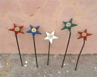 Mini Metal Flower Garden Stake Texas Souvenir Office Art Table Centerpiece Cast Iron Star 12 gauge Texas Decor Indoor outdoor Gardener Gift