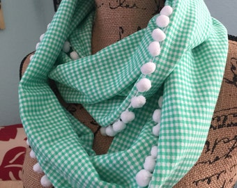 Gingham Infinity Scarf with White Pom Pom Trim