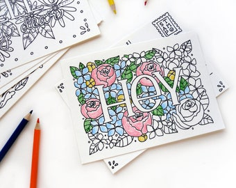 single coloring postcard words and greetings coloring book postcards succulents plants words phrases