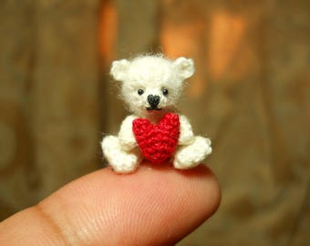 Mini White Bear Holding Heart -  Micro Crochet Miniature Bear - Made To Order