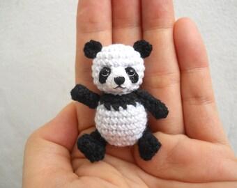 Panda Bear Amigurumi - Crochet Miniature Bear Stuffed Animals - Made To Order