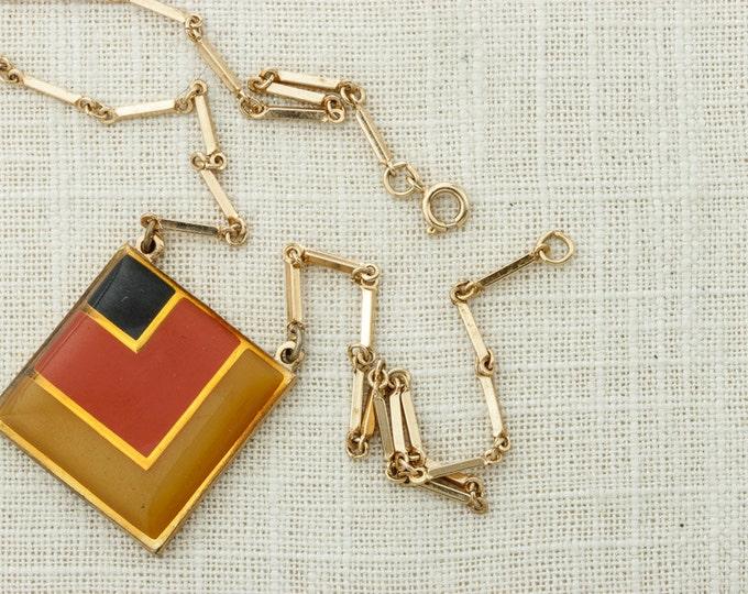 1970s Necklace Mod Geo Pendant Yellow Orange Black Gold Geometric Square Coventry 70s Costume Jewelry 16D