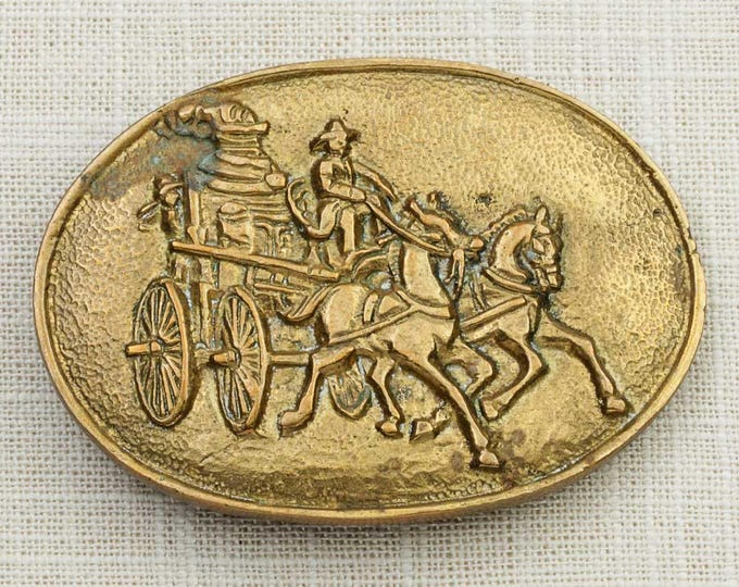 Horse Drawn Fire Engine Belt Buckle Gold Solid Brass Oval Horses Vintage Belt Buckle 7G