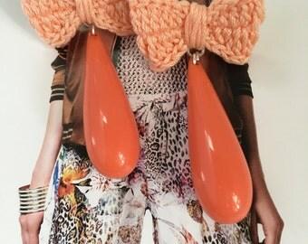 Teardrop Earrings , Crochet Earrings , Long drop earrings , Flame (Pantone)