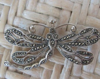 Vintage Sterling Silver Dragonfly Brooch Marcasite Jewelry