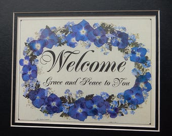 WELCOME sign. Housewarming Gift. Welcome Scripture. Blue and Green Hydrangea Art. Repro Pressed Flowers Matted. Wedding Gift