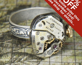 Women's Steampunk Ring Jewelry - Torch SOLDERED - ETERNA Watch Movement w Original Crown & Adjustable Floral Band - Petite and Elegant