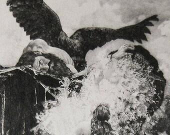 Antique Fine Art Print Prometheus 1893 Columbian Exposition Adolf Hirschl / Pierre Teyssonnieres Chicago World's Fair