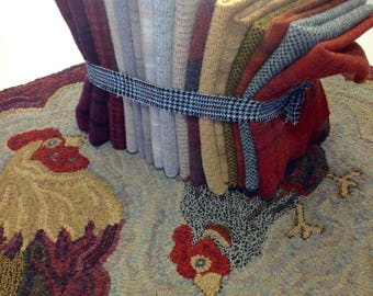 """Rug Hooking WOOL PACK for Two Chickens 26"""" x 38"""",  J466"""