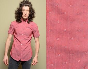 vintage sharksin shirt 50s 60s short sleeve button down dress shirt preppy prep trad rockabilly 1950 1960 menswear slimfit XS/S Packard