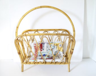 Vintage Mid century Mod Rattan bamboo magazine rack