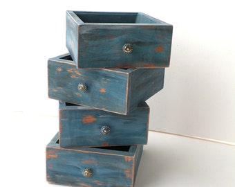 Weathered Wood Boxes Office Desk Storage Box Desk Organizer Box Set Catch all Box What not Box Paper Clips Box Rustic Wedding Boxes