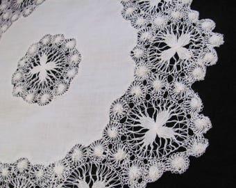 "Doily Handmade Vintage Linen Crocheted Doily 15"" Inch Round (#49)"
