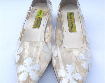 Vintage White Patent Shoes Clear Plastic Flower Daisy Daisies Flower Power See Through Kitten Heels Ladies Size 8 Penny Loves Kenny
