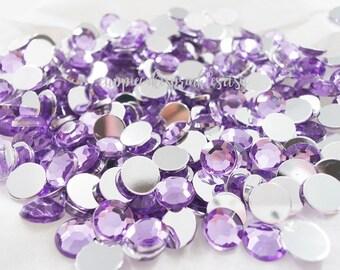 100pcs - 8mm Light Purple Lavender Acrylic Flatback Rhinestones AR10008
